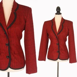True Vintage 6P Petite Red Black Career Blazer